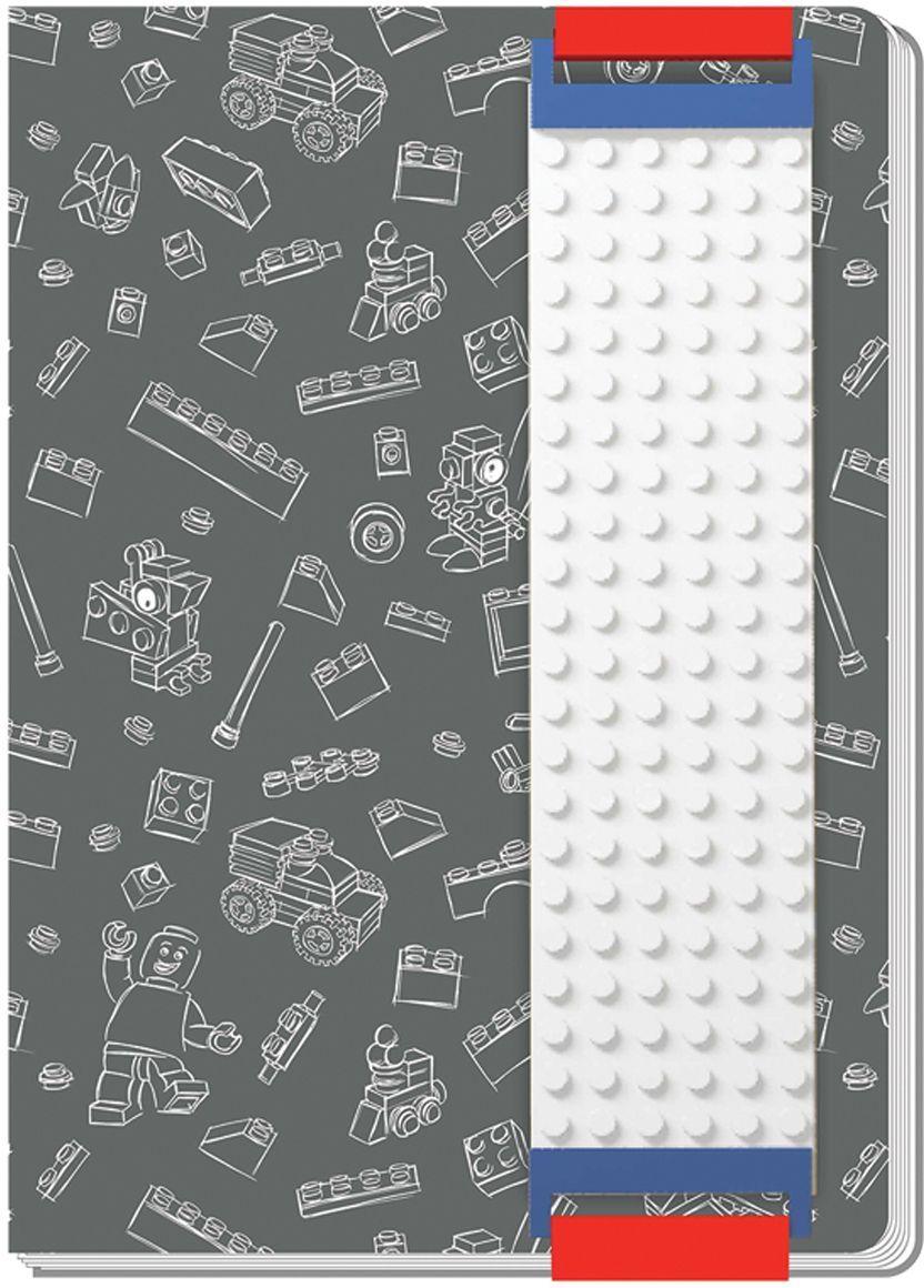 LEGO Записная книжка 96 листов в линейку с закладкой цвет серый 5152496304СОригинальную книгу для записей LEGO можно использовать в качестве ежедневника, блокнота для рисования, написания сочинений или важных событий. Закладка поможет не только найти необходимую запись, а также хранить ручку, маркер или карандаш вместе, ведь все канцелярские принадлежности скрепляются друг с другом по принципу конструкторов LEGO. Внутренний блок состоит из 96 листов в линейку.