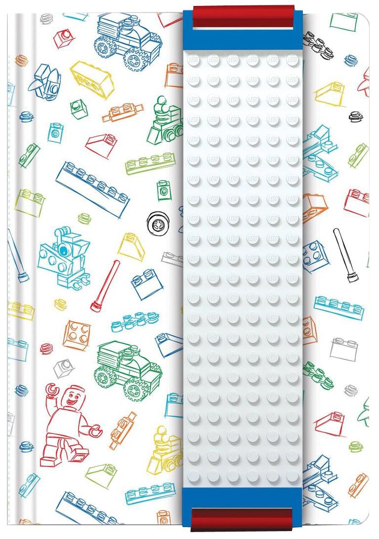 LEGO Записная книжка 96 листов в линейку с закладкой цвет белый 5152551525Оригинальную книгу для записей LEGOможно использовать в качестве ежедневника, блокнота для рисования, написания сочинений или важных событий.Закладка поможет не только найти необходимую запись, а также хранить ручку, маркер или карандаш вместе, ведь все канцелярские принадлежности скрепляются друг с другом по принципу конструкторов LEGO.Внутренний блок состоит из 96 листов в линейку.