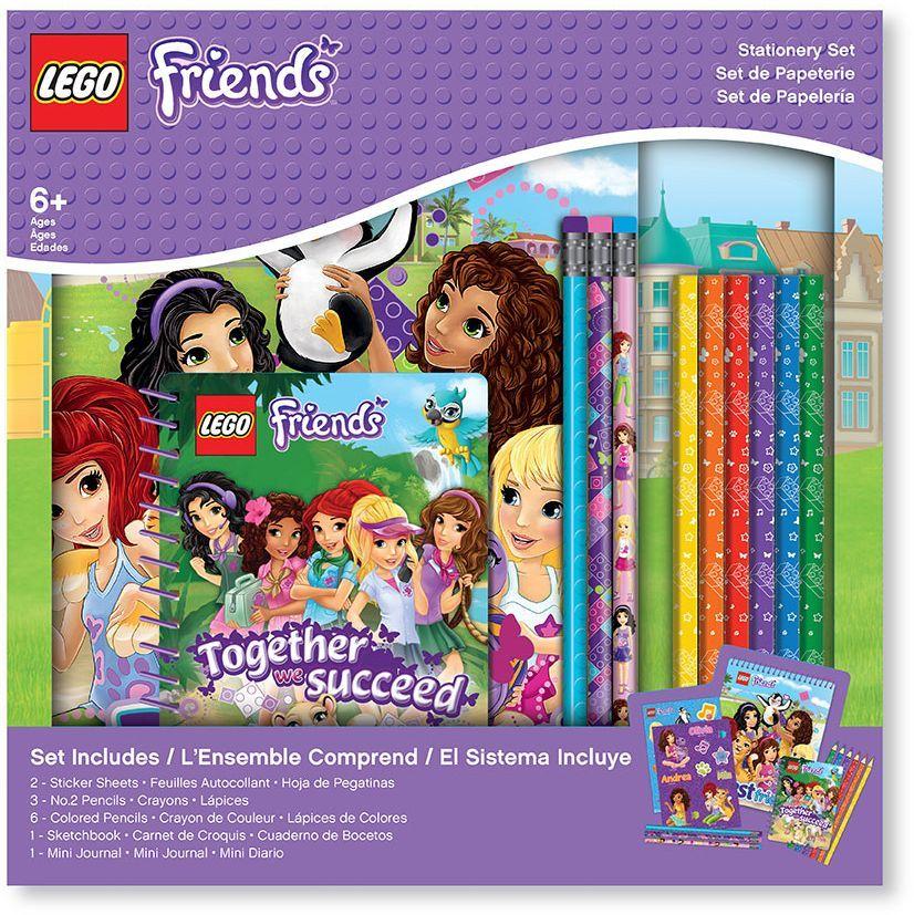 LEGO Набор канцелярских принадлежностей Friends 13 предметов51607Набор канцелярских принадлежностей LEGO содержит 13 предметов:- Альбом для рисования на спирали. Обложка альбома оформлена красочным притом. Внутренний блок содержит60 листов. - 2 листа с наклейками. - 3 простых карандаша с ластиками. - 6 цветных карандашей (желтый, оранжевый, красный, фиолетовый, голубой, зеленый). - Блокнот на спирали. Обложка блокнота оформлена красочным принтом. Внутренний блок содержит 100 листов.