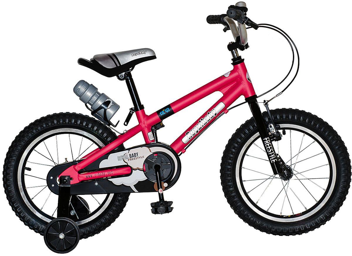 Велосипед детский Royal Baby Freestyle 14, цвет: красныйRB14B-7 КрасныйСтильный детский велосипед на облегченной раме из алюминия станет любимым транспортом Вашего ребенка. Royal Baby Freestyle 14 сочетает в себе отличное соотношение цена-качество, при котором оба показателя порадуют Вас! Велосипед можно отрегулировать именно под Вашего малыша, что обеспечит комфортную езду на протяжении всего использования. Покрытие рамы – гипоаллергенная краска, которая не осыпается, устойчива к царапинам и не выгорает под прямыми солнечными лучами. Можно смело оставлять велосипед на солнце! Детский велосипед Royal Baby Freestyle 14 – качество по доступной цене! Детский велосипед с приставными колесами. Алюминиевая рама, надувные колеса с алюминиевыми ободами, комплект задних приставных колес, ручной тормоз, звонок, удобное седло. Бутылочка для воды, флягодержатель, насос, комплект ключей и крылья в ПОДАРОК! Для возраста 4-6 лет, рост 105-120