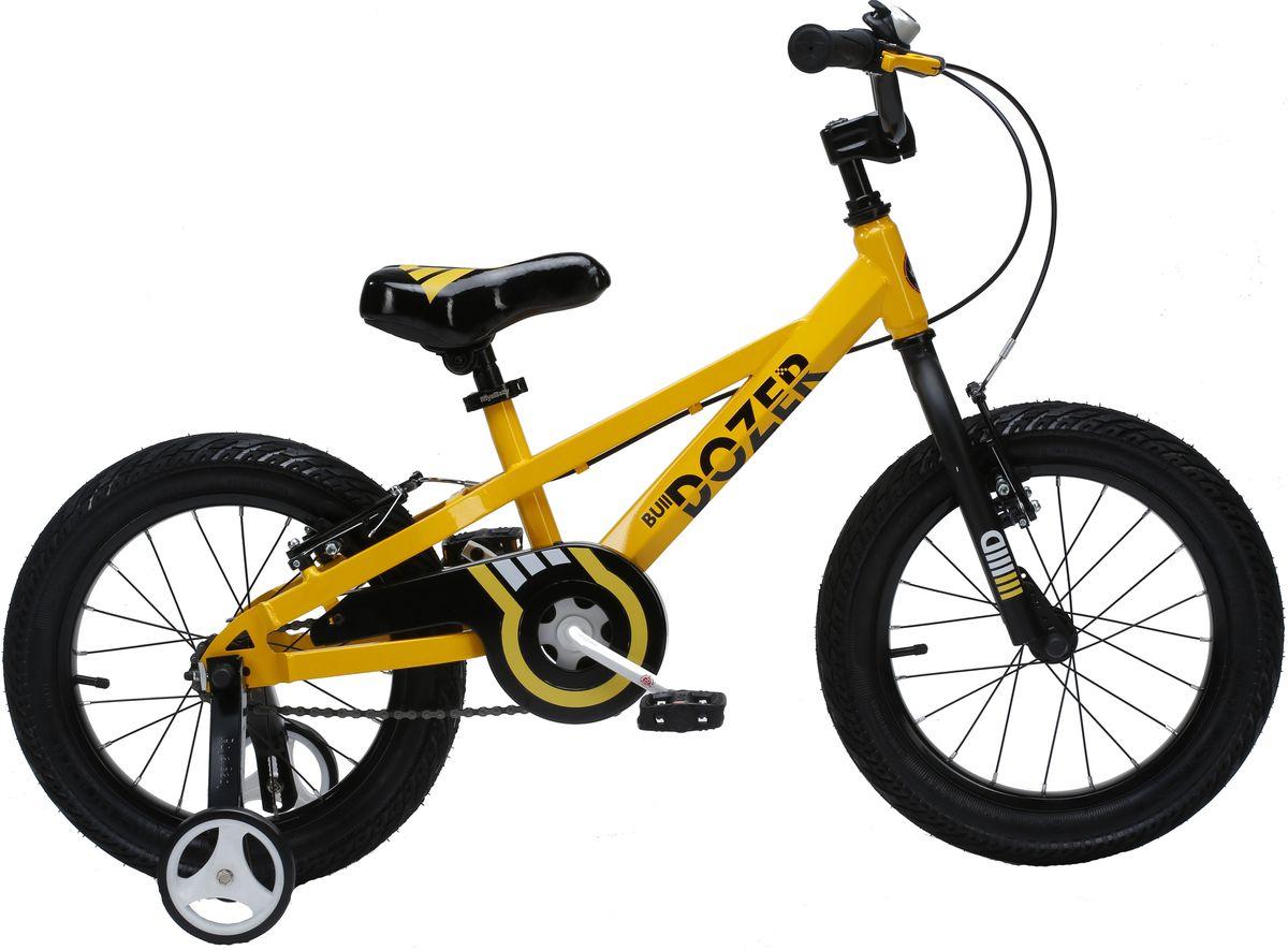 Велосипед детский Royal Baby Bull Dozer 18, цвет: желтыйRB18-23 ЖелтыйДетский велосипед Royal Baby порадует Вас своими функциональными особенностями, качественной сборкой, стильным дизайном и отличной ценой! Кататься на таком велосипеде комфортно и очень увлекательно. Royal Baby Freestyle обладает отличной маневренностью и практически бесшумной ездой по асфальту. Способен преодолеть высокую траву, песок и гравий. Просто незаменим при катании по городским улицам, парковым зонам и пересеченной местности. Royal Baby станет самым запоминающимся подарком для Вашего ребенка! Детский велосипед с приставными колесами. Рама выполнена из высокопрочной стали. Широкие надувные колеса. Руль и седло регулируются по высоте. Ручные ободные тормоза. В комплекте приставные колеса, комплект крыльев, насос и звонок. Рекомендованный рост ребенка 115-140см