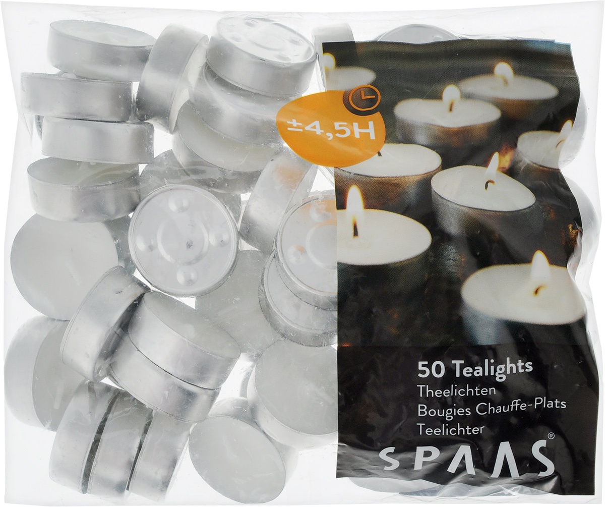 """Набор свечей """"Spaas"""" состоит из 50 круглых свечей, изготовленных из парафина. Свечи без аромата, они предназначены для украшения интерьера и праздничных столов, для поддержания напитков и блюд в теплом состоянии, для ароматизированных ламп.Первичный парафин в составе свечей обеспечивает качество горения (выгорает полностью). При горении не трещат, не появляются искры. Время горения: 4,5 ч."""