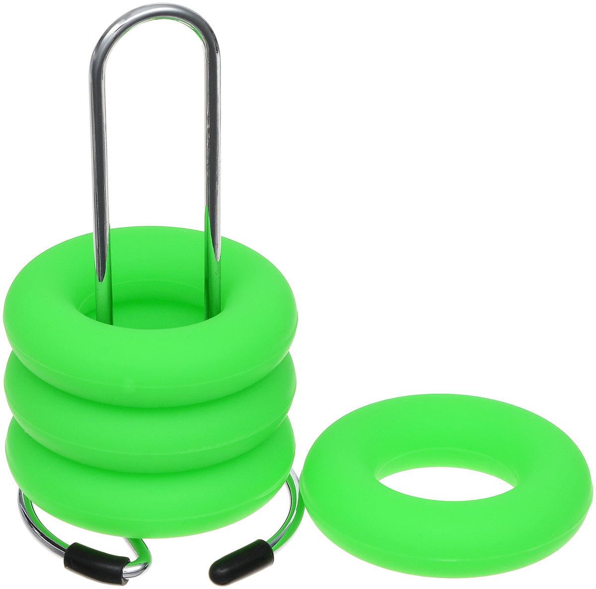 Подставка под яйца Zeller, 4 кольца, цвет: салатовый27226_зеленыйПодставка под яйца Zeller представляет собой металлическую стойку и 4 силиконовых кольца. Такие кольца очень удобны для яиц, так как надежно их удерживают. Стойка предназначена для хранения колец. Она снабжена прорезиненным основанием для устойчивости. Такой набор станет полезным и практичным приобретением для вашей кухни и сделает сервировку стола к завтраку красивой и оригинальной. Диаметр кольца: 5,5 см. Размер стойки: 5 х 6 х 10 см.