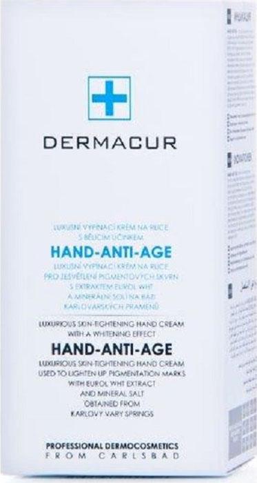 Питательный крем для рук с отбеливающим эффектом Hand Anti Age Dermacur, 75 мл.P009Эксклюзивный разглаживающий морщины крем для рук с отбеливающим эффектом, осветляет пигментные пятна, содержит экстракт Eurol WHT и миниральные соли из карловарских источников.HAND-ANTI AGE - это роскошный крем для рук, содержащий высокоэффективный натуральный отбеливающий и омолаживающий компонент EUROL WHT, гиалуроновую кислоту и комплекс благородных масел. Крем способствует повышению тонуса кожи рук и отбеливанию пигментных пятен. Благодаря входящему в состав крема комплексу благородных масел крем снимает ощущение сухости рук, делает кожу нежной и приятной. Комплексный состав крема обеспечивает обновление увлажнения и барьерной функции кожи рук. Крем очень быстро впитывается, предоставляет необходимую защиту коже рук и не оставляет ощущение липких рук.• Повышение тонуса и разглаживание кожи рук• Осветление пигментных пятен• Восстановление барьерной функции кожи• Защита и увлажнение кожи