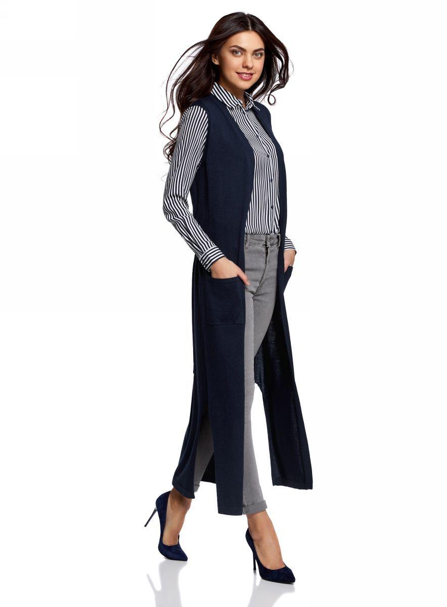 Жилет женский oodji Ultra, цвет: темно-синий. 64512027/31347/7900N. Размер XS (42) пуловеры oodji пуловер