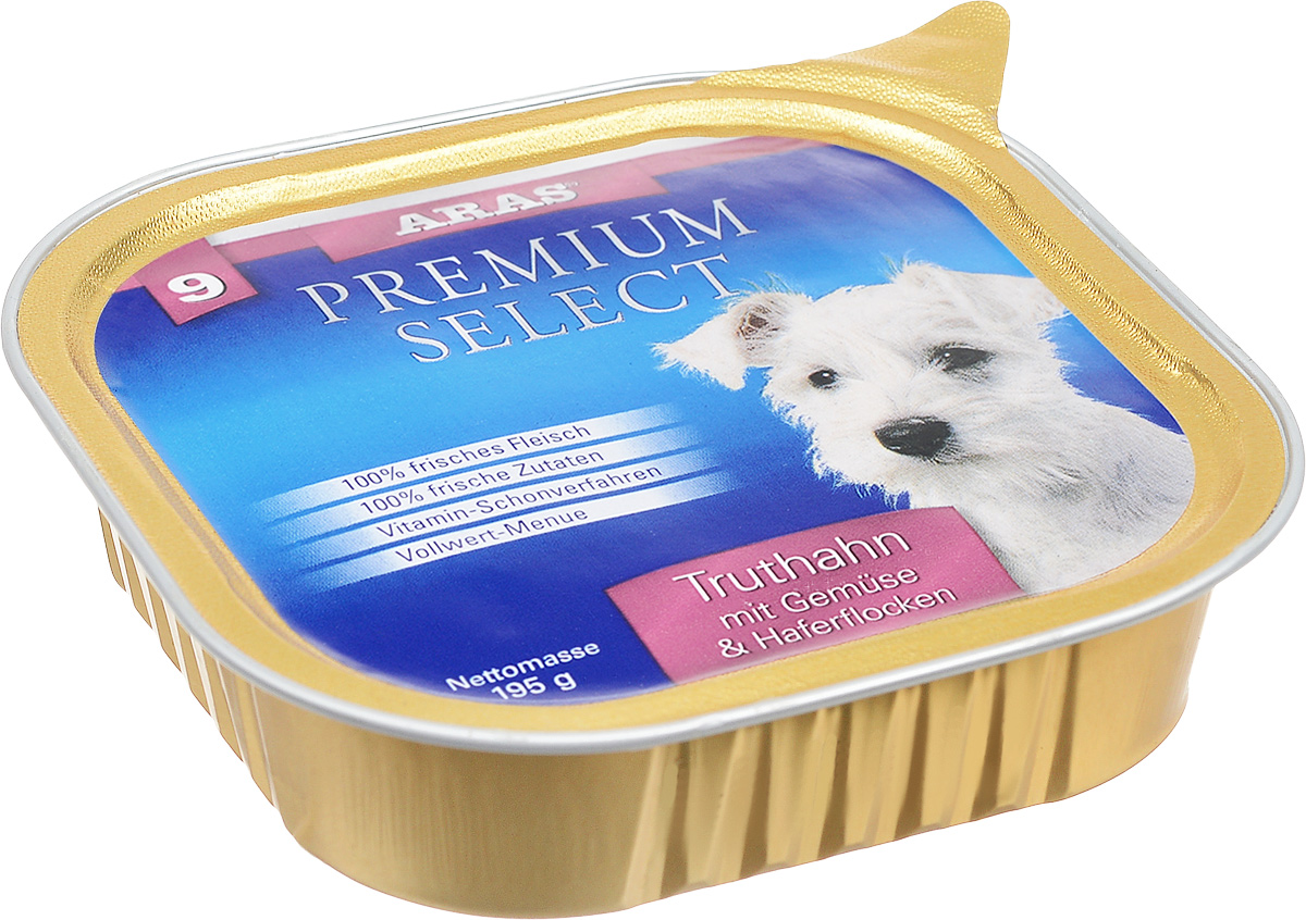 Консервы для собак Aras Premium Select, с индейкой, овощами и овсяными хлопьями, 195 г101209Повседневный консервированный корм Aras Premium Select подходим для собак всех пород и всех возрастов. При производстве корма используются исключительно свежие натуральные продукты: мясо, овощи, овсяные хлопья и экстракт масла зародышей зерна пшеницы холодного отжима (Bio-Dura). Благодаря уникальной технологии, схожей с технологий Souse Vide, при изготовлении сохраняются все натуральные витамины и минералы. Это достигается благодаря бережной обработке всех ингредиентов при температуре менее 80 градусов. Такая бережная обработка продуктов не стерилизует продуктовые компоненты, поэтому корма не нуждаются ни в каких дополнительных вкусовых добавках и сохраняют все необходимые полезные вещества.Не содержит химических красителей, усилителей вкуса, искусственных консервантов, химических добавок и ГМО. Состав: мясо (индейка/говядина) 94%, овощи 2%, овсяные хлопья 2%, экстракт зародышей пшеницы холодного отжима 2%. Пищевая ценность: белки 12,6%, жиры 6,4%, зола 1,9%, клетчатка 0,8%, влажность 77,8%. Товар сертифицирован.