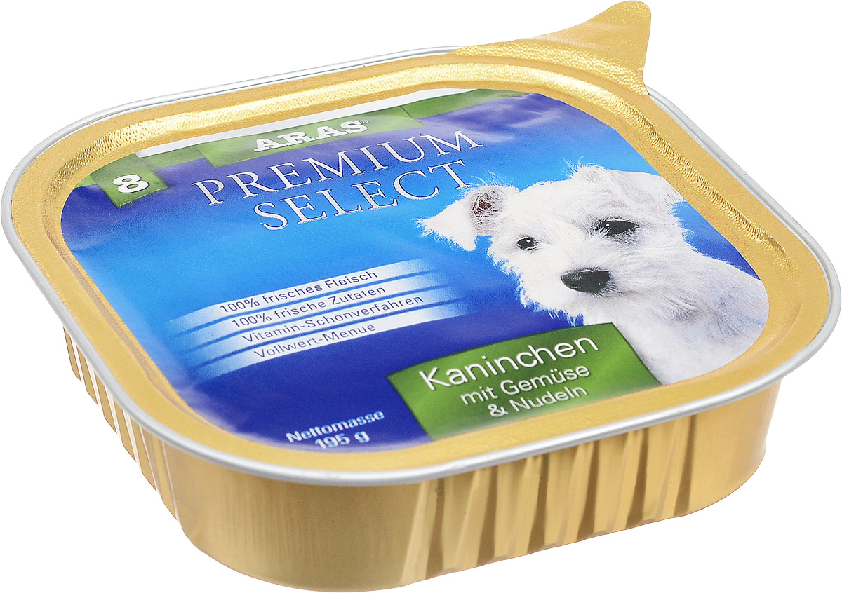 Консервы для собак Aras Premium Select, с кроликом, овощами и лапшой, 195 г101208Повседневный консервированный корм Aras Premium Select подходим для собак всех пород и всех возрастов. При производстве корма используются исключительно свежие натуральные продукты: мясо кролика и говядины, овощи, лапша и экстракт масла зародышей зерна пшеницы холодного отжима (Bio-Dura). Благодаря уникальной технологии, схожей с технологий Souse Vide, при изготовлении сохраняются все натуральные витамины и минералы. Это достигается благодаря бережной обработке всех ингредиентов при температуре менее 80 градусов. Такая бережная обработка продуктов не стерилизует продуктовые компоненты, поэтому корма не нуждаются ни в каких дополнительных вкусовых добавках и сохраняют все необходимые полезные вещества. Не содержит химических красителей, усилителей вкуса, искусственных консервантов, химических добавок и ГМО. Состав: мясо (кролик/говядина) 94%, овощи 2%, лапша 2%, экстракт зародышей пшеницы холодного отжима 2%. Пищевая ценность: белки 12,6%, жиры 6,5%, зола 1,9%, клетчатка 0,7%, влажность 77,8%. Товар сертифицирован.Чем кормить пожилых собак: советы ветеринара. Статья OZON Гид