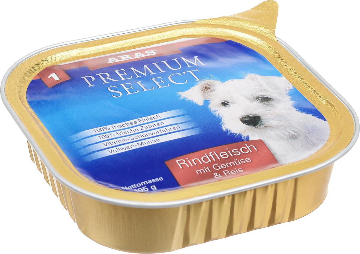 Консервы для собак Aras Premium Select, с говядиной, овощами и рисом, 195 г101201Повседневный консервированный корм Aras Premium Select подходим для собак всех пород и всех возрастов. При производстве корма используются исключительно свежие натуральные продукты: мясо, овощи, зерновые и экстракт масла зародышей зерна пшеницы холодного отжима (Bio-Dura). Благодаря уникальной технологии, схожей с технологий Souse Vide, при изготовлении сохраняются все натуральные витамины и минералы. Это достигается благодаря бережной обработке всех ингредиентов при температуре менее 80 градусов. Такая бережная обработка продуктов не стерилизует продуктовые компоненты, поэтому корма не нуждаются ни в каких дополнительных вкусовых добавках и сохраняют все необходимые полезные вещества. Не содержит химических красителей, усилителей вкуса, искусственных консервантов, химических добавок и ГМО. Состав: мясо говядины 94%, овощи 2%, рис 2%, экстракт зародышей пшеницы холодного отжима 2%. Пищевая ценность: белки 12,8%, жиры 6,4%, зола 1,9%, клетчатка 0,5%, влажность 77,5%. Товар сертифицирован.Чем кормить пожилых собак: советы ветеринара. Статья OZON Гид