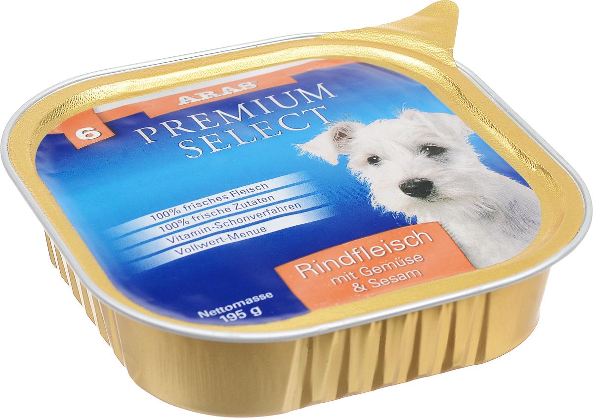 Консервы для собак Aras Premium Select, с говядиной, овощами и кунжутом, 195 г101206Повседневный консервированный корм Aras Premium Select подходим для собак всех пород и всех возрастов. При производстве корма используются исключительно свежие натуральные продукты: мясо, овощи, кунжут и экстракт масла зародышей зерна пшеницы холодного отжима (Bio-Dura). Благодаря уникальной технологии, схожей с технологий Souse Vide, при изготовлении сохраняются все натуральные витамины и минералы. Это достигается благодаря бережной обработке всех ингредиентов при температуре менее 80 градусов. Такая бережная обработка продуктов не стерилизует продуктовые компоненты, поэтому корма не нуждаются ни в каких дополнительных вкусовых добавках и сохраняют все необходимые полезные вещества. Не содержит химических красителей, усилителей вкуса, искусственных консервантов, химических добавок и ГМО. Состав: мясо (говядина) 95%, овощи 2%, кунжут 1%, экстракт зародышей пшеницы холодного отжима 2%. Пищевая ценность: белки 12,8%, жиры 6,1%, зола 1,9%, клетчатка 0,3%, влажность 77,6%. Товар сертифицирован.Чем кормить пожилых собак: советы ветеринара. Статья OZON Гид