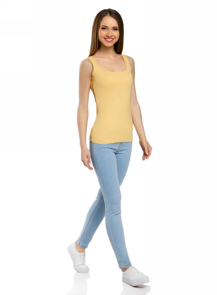 Майка женская oodji Collection, цвет: желтый. 24315002-1B/45297/5200N. Размер L (48)  - купить со скидкой