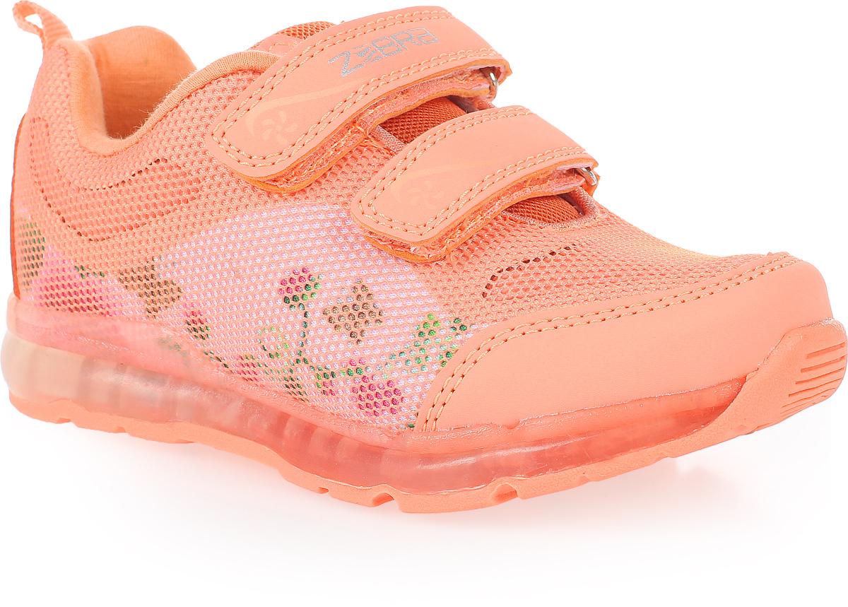 Кроссовки для девочки Зебра, цвет: оранжевый. 11604-18. Размер 3011604-18Стильные кроссовки от Зебра выполнены из комбинации текстиля и искусственной кожи. Ремешки на липучках надежно закрепят изделие на ноге. Стелька из натуральной кожи способствует правильному формированию скелета и анатомических сводов детской стопы. Подошва имеет высокую естественную способность к сцеплению с любой поверхностью за счет особой формы и рельефа.