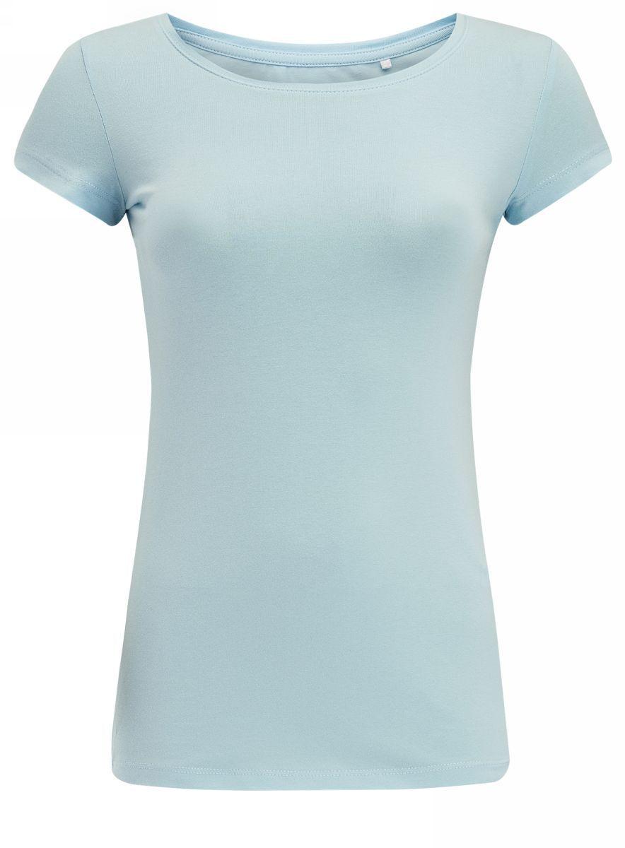 Купить Футболка женская oodji Ultra, цвет: серо-голубой. 14701005-7B/46147/7000N. Размер XS (42)