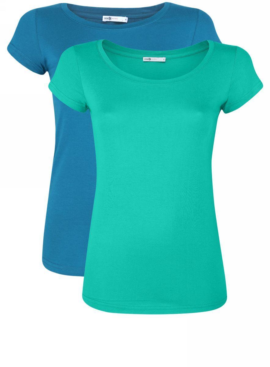 Футболка женская oodji Ultra, цвет: изумрудный, морская волна, 2 шт. 14701008T2/46154/6D6CN. Размер L (48)