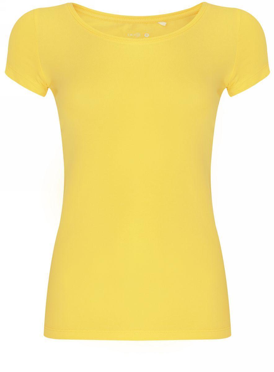 Купить Футболка женская oodji Ultra, цвет: светло-лимонный. 14701005-7B/46147/5100N. Размер XS (42)