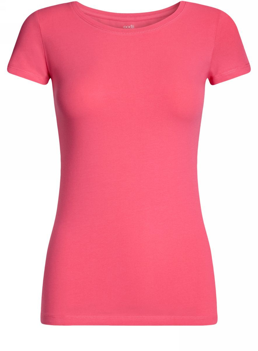 Купить Футболка женская oodji Ultra, цвет: ярко-розовый. 14701005-7B/46147/4D00N. Размер XS (42)