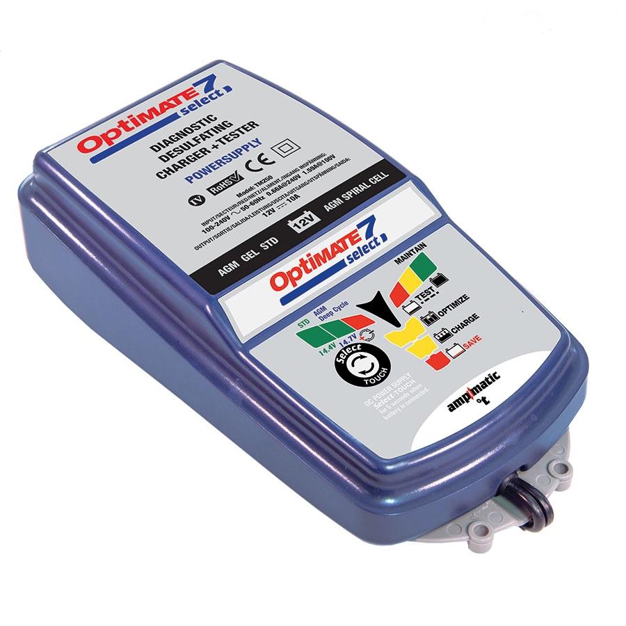 Зарядное устройство OptiMate 7 Select. TM250TM250Многоступенчатое зарядное устройство Optimate от бельгийской компании TecMate с режимами тестирования, восстановления глубокоразряженных аккумуляторных батарей, десульфатации и хранения. Управление полностью автоматическое микропроцессорное, переключение режимов 14,4В и 14,7В сенсорной кнопкой. Заряжает все типы 12В свинцово-кислотных аккумуляторных батарей, в т.ч. AGM, GEL. Защита от короткого замыкания, переполюсовки, искрообразования, перегрева. Оптимизирует срок службы и здоровье аккумуляторной батареи. Гарантия 3 года (замена на новое изделие). Влагозащищенный корпус. Рекомендовано 10-ю ведущими производителями мототехники. Optimate 7 Select рекомендуется для АКБ от 3 Ач до 400 Ач. Ток заряда: до 10А. Старт зарядки АКБ от 0,5В. Температурный режим: -40...+40°С. В комплект устройства входят аксессуары: O11 кольцевой разъем постоянного подключения и O4 зажимы типа крокодил. Optimate 7 Select имеет дополнительный режим источника питания, для замещения аккумуляторной батареи во время сервисных работ.