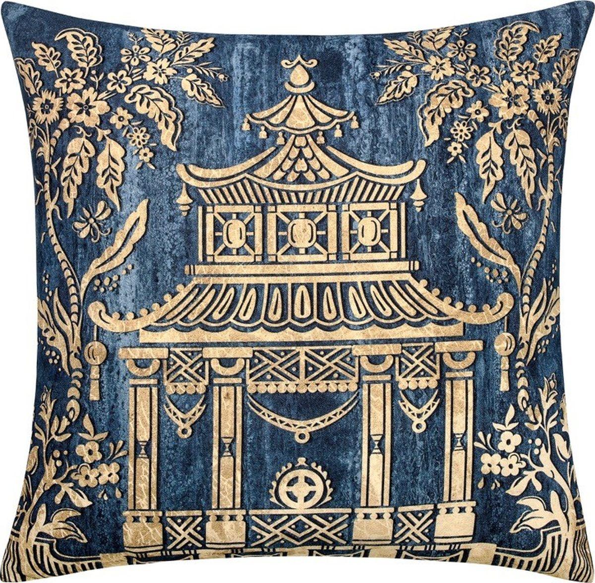 Подушка декоративная Togas Пагода, наполнитель: полиэфир, цвет: синий, золотой, 45 х 45 см подушка декоративная togas пагода наполнитель полиэфир цвет синий золотой 45 х 45 см