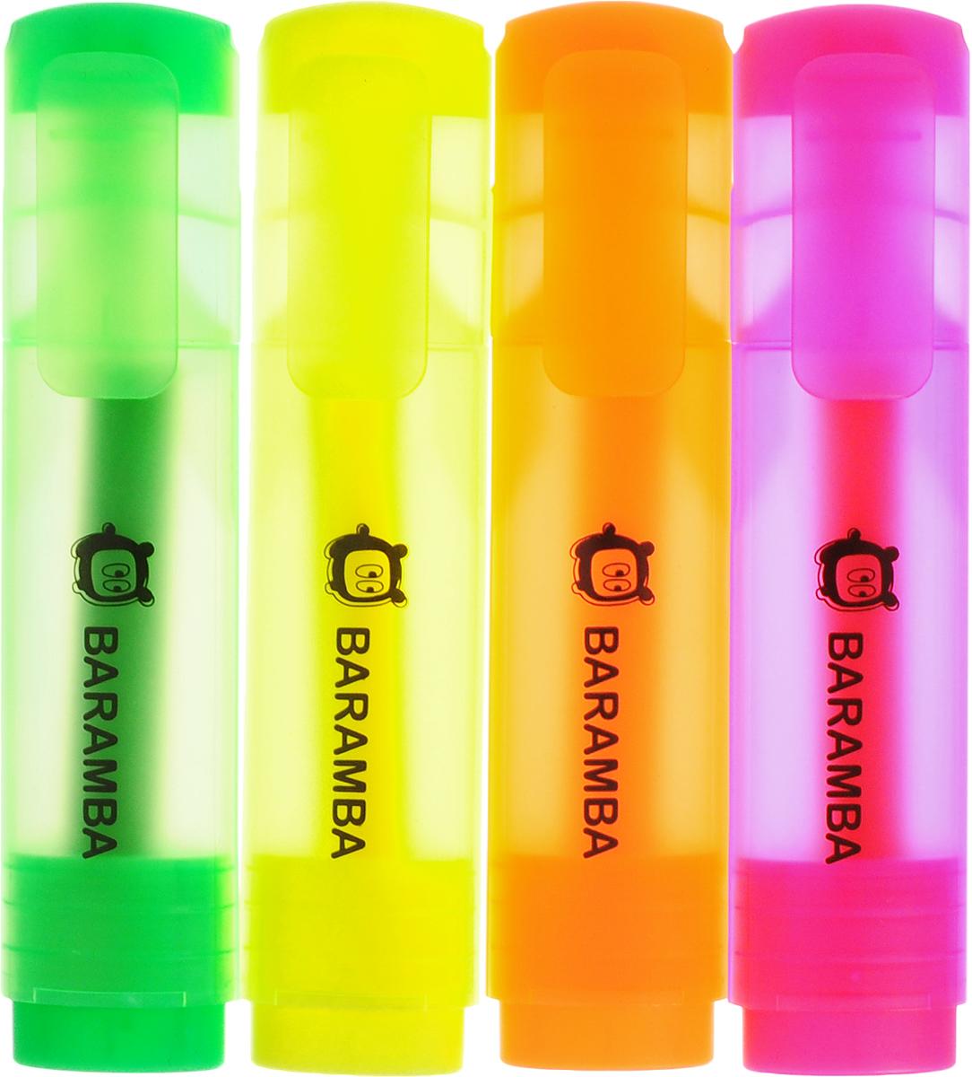 Baramba Набор текстовыделителей 4 цветаB10004_желтый/оранжевый/розовый/зеленыйНабор текстовыделителей Baramba подойдет для выделения текстов на разных видах бумаги, в том числе на бумаге для факсов и копировальных машин, и станет незаменимым атрибутом работы в офисе. Колпачок оснащен пластиковым клипом.В набор входят четыре текстовыделителя ярких цветов: розовый, желтый неон, зеленый и оранжевый. Текстовыделители с клиновидным острием обладают яркими, насыщенными цветами и четкими контурами.