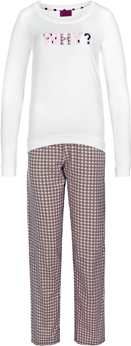 Пижама женская Penye Mood, цвет: молочный, розовый, горчичный. 7655. Размер XL (50)7655Пижама женская Penye Mood исполнена из двух видов ткани. Лонгслив выполнен из вискозы с добавлением полиэстера и эластана, оформлен нашивками в виде букв и имеет текстильные резинки на манжетах, по низу и по краю выреза воротника. Тёплые брюки выполнены из 100% хлопка и принтованыузором в индийском стиле.