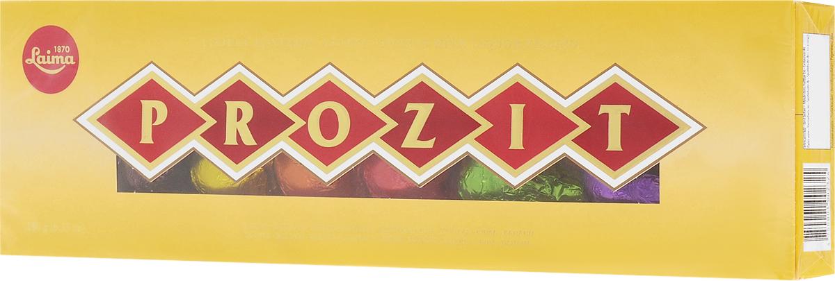 Laima Prozit конфеты с ликерными начинками, 180 гP110603221Набор шоколадных конфет в виде бутылочек Laima Prozit с различными алкогольными начинками (бальзамовая, текила, виски, кофейная, ромовая, вишневый брэнди, коньячная, банановая).