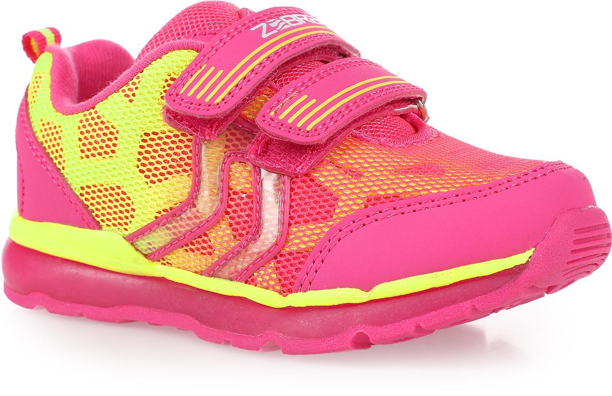 Кроссовки для девочки Зебра, цвет: розовый. 11575-9. Размер 28