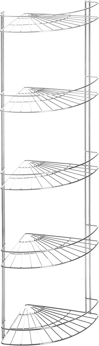 Полка для ванной комнаты Vanstore Slim, 5-ярусная, угловая, подвесная, высота 85 см полка подвесная duschy modern 5 ярусная угловая