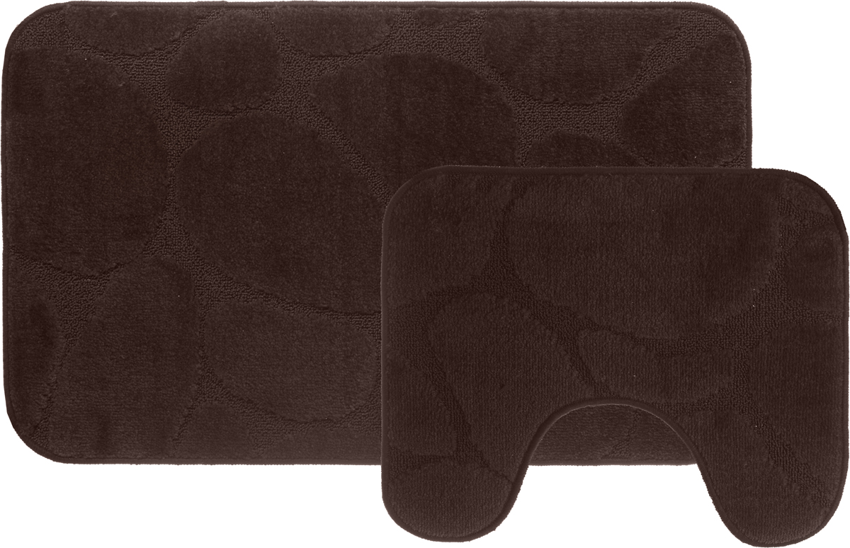 Набор ковриков для ванной MAC Carpet Рома. Камни, цвет: коричневый, 60 х 100 см, 50 х 60 см, 2 шт шарм с подвесом из серебра valtera 71444