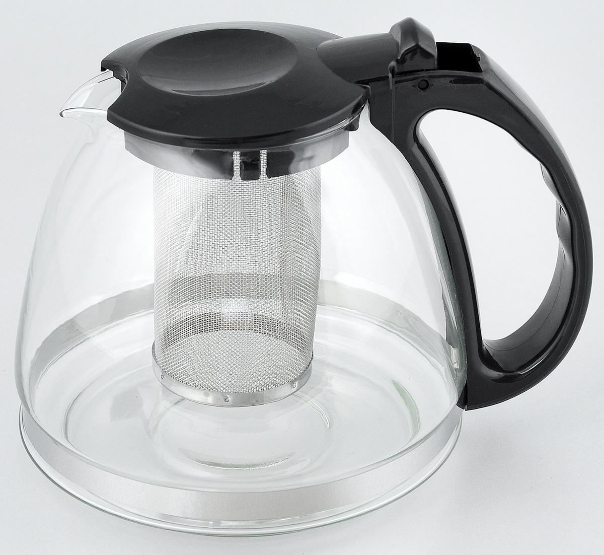 """Заварочный чайник """"LY"""" изготовлен из высококачественного стекла и полипропилена. Изделие оснащено сетчатым металлическим фильтром, который задерживает чаинки и предотвращает их попадание в чашку, а прозрачные стенки дадут возможность наблюдать за насыщением напитка.Чай в таком чайнике дольше остается горячим, а полезные и ароматические вещества полностью сохраняются в напитке. Не рекомендуется мыть в посудомоечной машине.Диаметр чайника (по верхнему краю): 8 см.Высота чайника (с учетом крышки): 15 см.Размер фильтра: 6 х 6 х 10 см."""