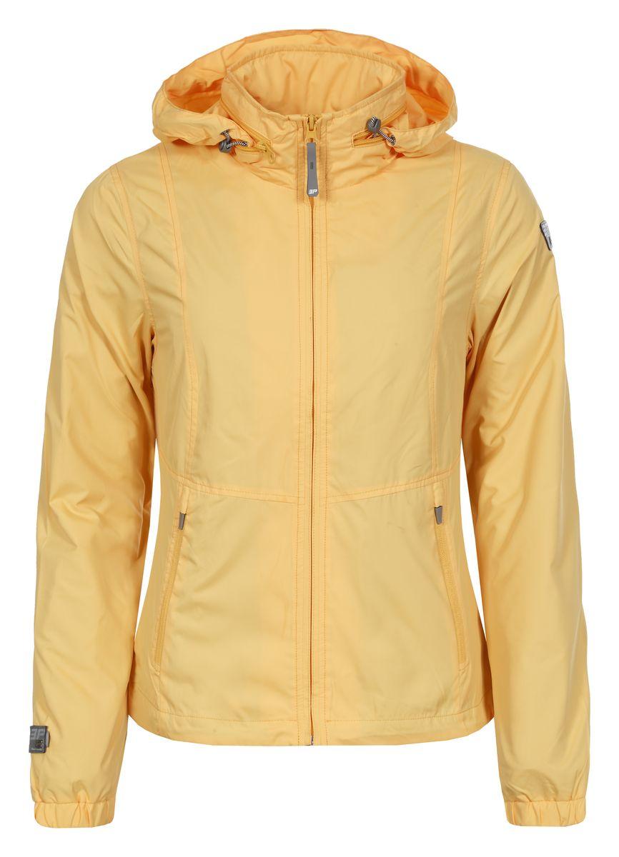 Ветровка женская Icepeak, цвет: желтый. 753005555IV. Размер 38 (44)753005555IVЖенская куртка Icepeak выполнена из качественного полиэстера. Модель с длинными рукавами застегивается на застежку-молнию. Изделие дополнено капюшоном, убирающимся в карман на воротнике и двумя врезными карманами.