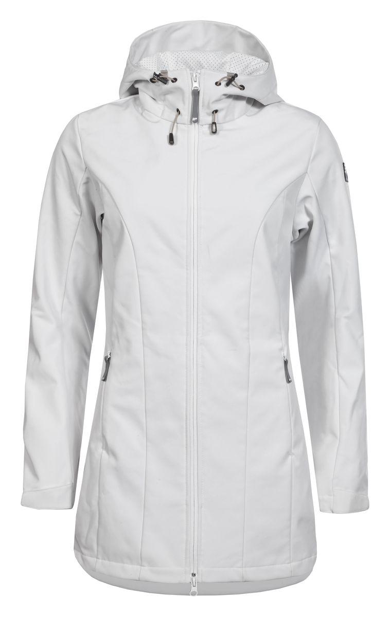 Куртка женская Icepeak, цвет: белый. 754850682IV. Размер 42 (48)754850682IVЖенская куртка Icepeak выполнена из качественного полиэстера. Модель с длинными рукавами застегивается на застежку-молнию. Изделие дополнено капюшоном и двумя врезными карманами на молниях.