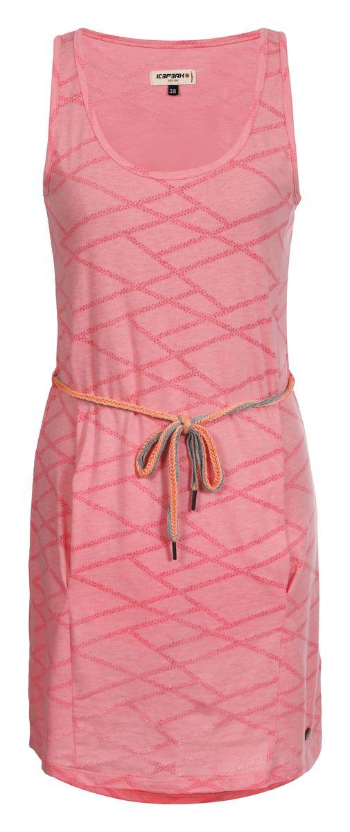 Пляжное платье Icepeak Macy, цвет: розовый. 754762683IV. Размер 36 (42)754762683IVПляжное платье Macy от Icepeak выполнено из легкого, полупрозрачного материала с большим содержанием хлопка. Модель без рукавов и с круглым вырезом горловины дополнена боковыми карманами. В комплект входит красивый вязаный пояс.