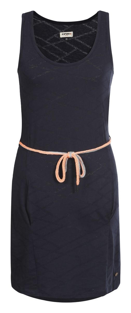 Пляжное платье Icepeak Macy, цвет: темно-синий. 754762683IV. Размер 42 (48)754762683IVПляжное платье Macy от Icepeak выполнено из легкого, полупрозрачного материала с большим содержанием хлопка. Модель без рукавов и с круглым вырезом горловины дополнена боковыми карманами. В комплект входит красивый вязаный пояс.