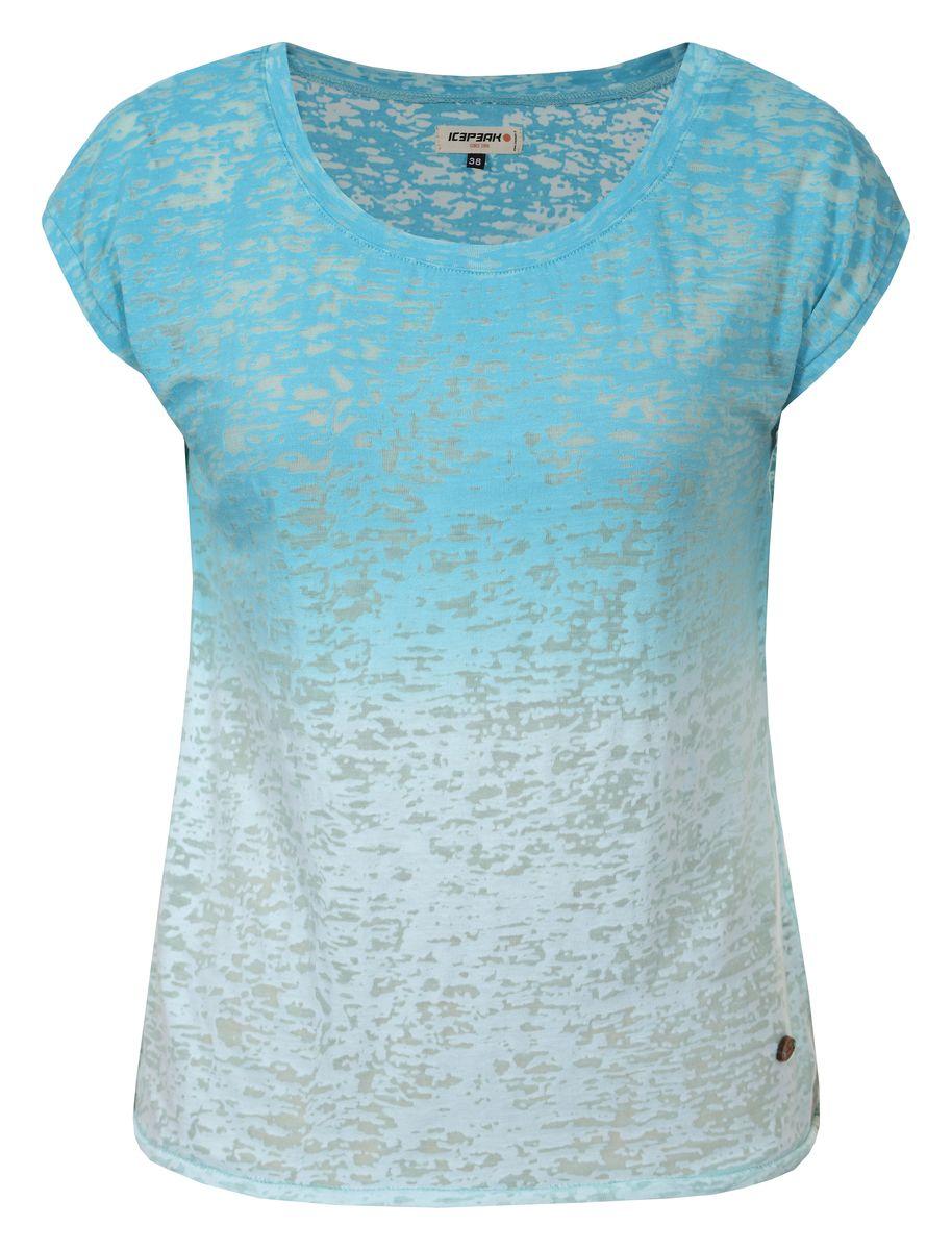 Футболка женская Icepeak, цвет: бирюзовый. 754763638IV. Размер 42 (48)754763638IVЖенская футболка Icepeak изготовлена из качественной смесовой ткани. У модели круглая горловина, цвет плавно переходит из одного в другой.