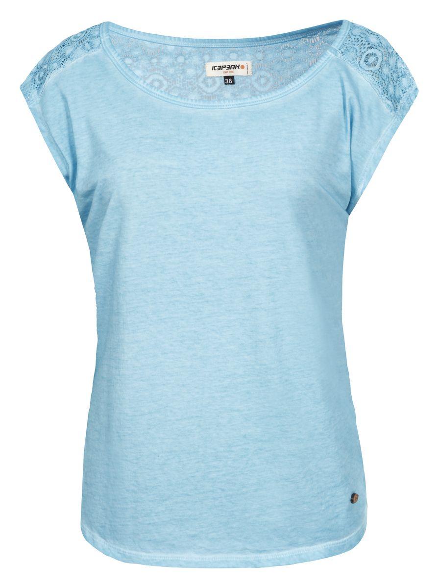 Футболка женская Icepeak, цвет: голубой. 754780465IV. Размер 36 (42)754780465IVЖенская футболка Icepeak изготовлена из натурального хлопка. У модели укороченные рукава и круглая горловина. Футболка дополнена кружевом на плечах и на спинке.