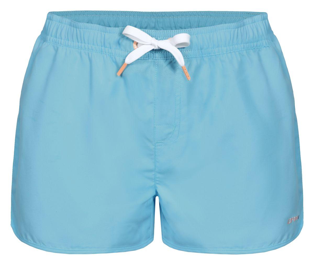 Шорты для плавания женские Icepeak Kristin, цвет: голубой. 754524513IV. Размер 40 (46)754524513IVПляжные шорты для плавания Kristin от Icepeak выполнены из мягкого и технологичного материала. Модель дополнена эластичным поясом со шнурком.