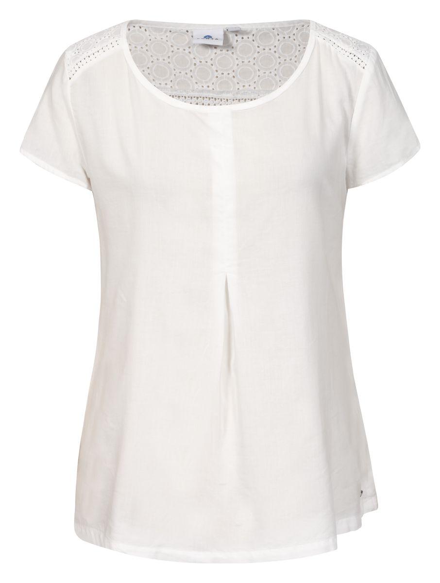 Футболка женская Luhta, цвет: белый. 737220331LV. Размер 40 (48)737220331LVЖенская футболка Luhta выполнена из высококачественного материала. Модель свободного кроя с круглым вырезом горловины и короткими рукавами.