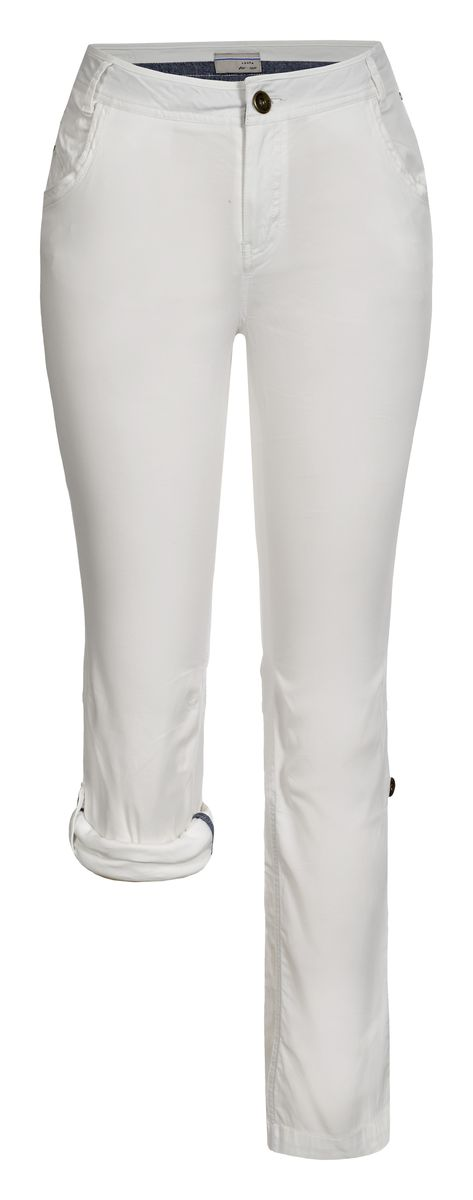 Брюки женские Luhta, цвет: белый. 737733362LV. Размер 38 (46)737733362LVСтильные женские брюки Luhta выполнены из высококачественного материала. Модель стандартной посадки застегивается на пуговицу в поясе и ширинку на застежке-молнии. Пояс имеет шлевки для ремня. Спереди брюки дополнены втачными карманами. Низ брючин можно подвернуть и зафиксировать хлястиками с пуговицами.