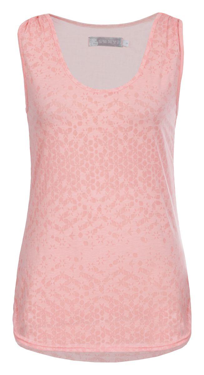 Майка женская Luhta, цвет: розовый. 737279325LV. Размер M (46)737279325LVМайка женская Luhta выполнена из высококачественного материала. Модель с круглым вырезом горловины оформлена оригинальным принтом.
