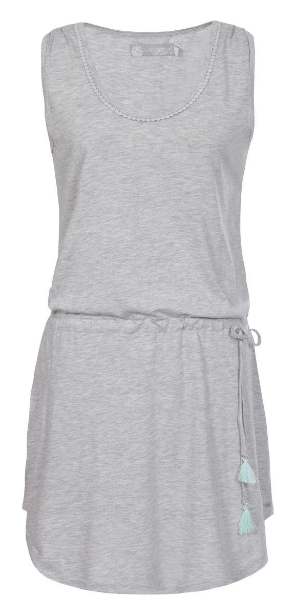 Туника женская Luhta, цвет: серый. 737274381LV. Размер XL (50)737274381LVТуника женская Luhta выполнена из высококачественного материала. Модель с круглым вырезом горловины на талии дополнена утягивающимся шнурком.