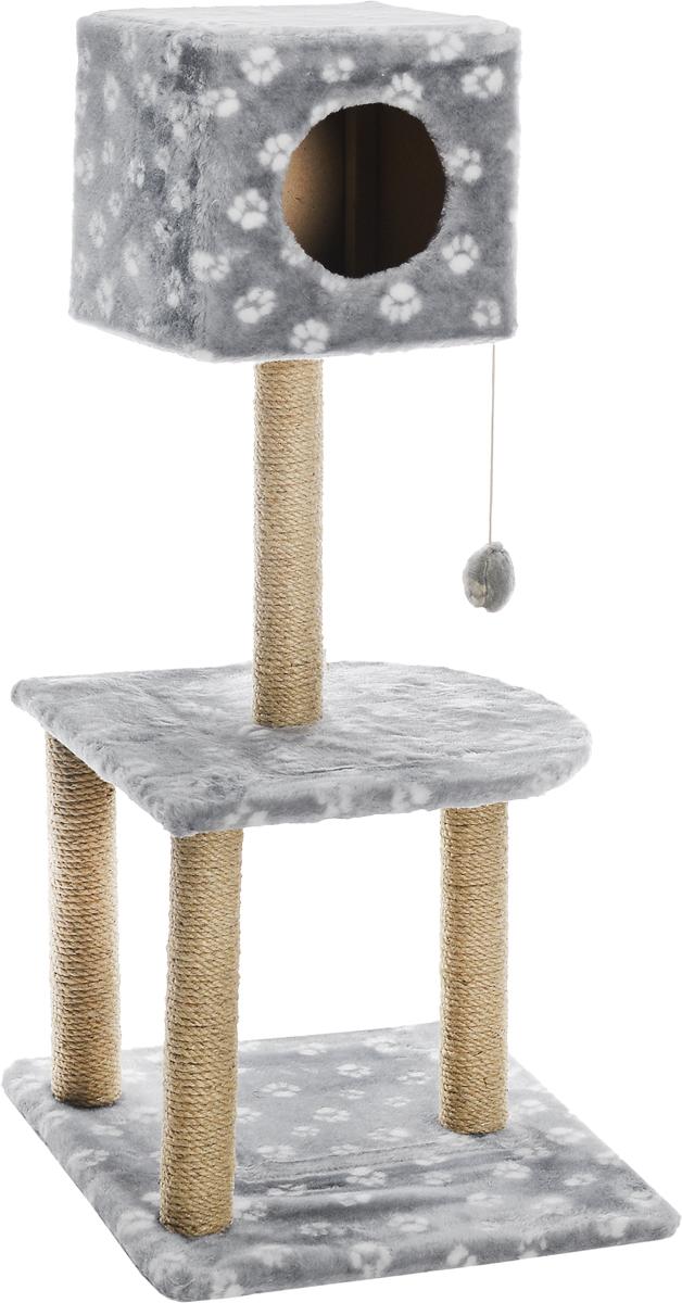 Домик-когтеточка Меридиан  Квадратный , 3-ярусный, с игрушкой, цвет: серый, белый, бежевый, 51 х 51 х 105 см - Когтеточки и игровые комплексы