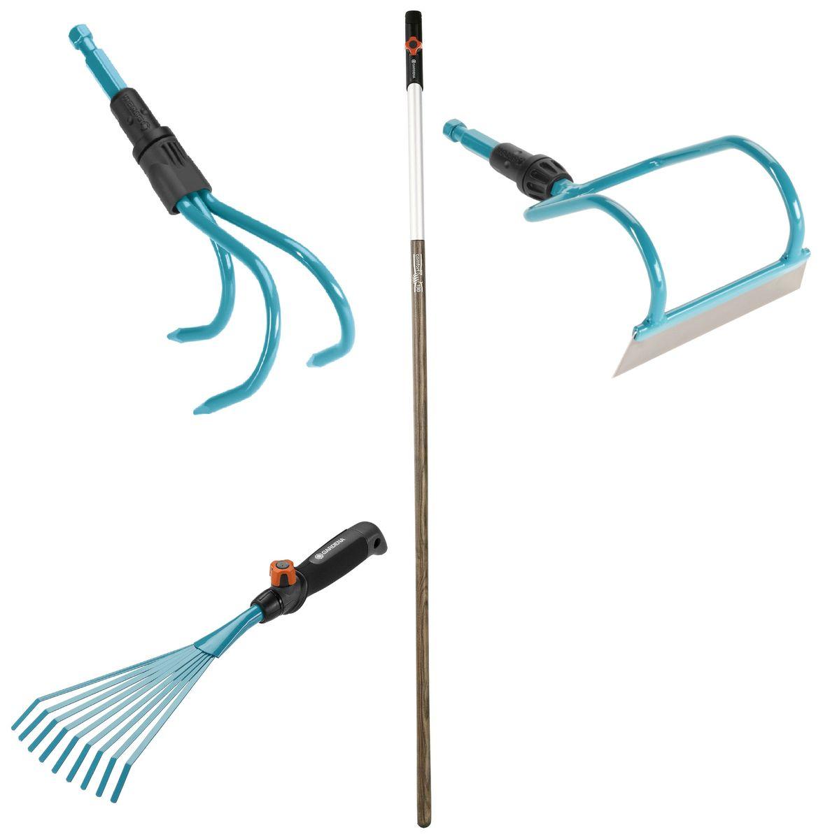 Набор садовых инструментов Gardena, 4 предмета07757-20.000.00Набор садовых инструментов Gardena состоит из грабель, мотыги-волокуши, рыхлителя и рукоятки.Грабли Gardena, выполненные из высококачественной стали с покрытием из дюропласта, представляют собой идеальный инструмент для сбора листьев, сорняков и скошенной травы. Ручка специальной формы удобно лежит в руке, облегчая работу. Практичность: ручка легко снимается и может быть заменена на любую другую ручку комбисистемы, которая будет подходить пользователю по росту и избавлять от необходимости нагибаться. Рабочая ширина: 12 см. Мотыга-волокуша Gardena - инструмент для садовых работ. Благодаря изогнутой форме лезвие входит в землю под углом - происходит более тщательное рыхление и разбивание почвы. Лезвие выполнено из нержавеющей стали, корпус - из стали, покрытой дюропластом. Используемые материалы не подвержены коррозии. Рабочая ширина: 12 см. Рыхлитель Gardena предназначен для рыхления и аэрации почвы. Он прекрасно подойдёт для каменистых почв и близко посаженных растений. Изделие имеет 3 прочных зубца. Рабочая ширина изделия: 9 см.Ручка Gardena идеально подходит к любому ручному инструменту по уходу за садом Gardena. Просто и надежно крепится с помощью стопорного винта, снабженного защитой от выпадения. Трубка из анодированного алюминия с пластиковым покрытием на конце ручки защищает от влаги. Зауженная форма обеспечивает удобный захват. Ручка изготовлена из высококачественной и упругой древесины ясеня, которая обладает свойством гасить вибрации и поэтому делает работу приятной и комфортной. Небольшой вес заботится о здоровье, снижая нагрузку на опорно-двигательный аппарат. Длина ручки: 130 см.