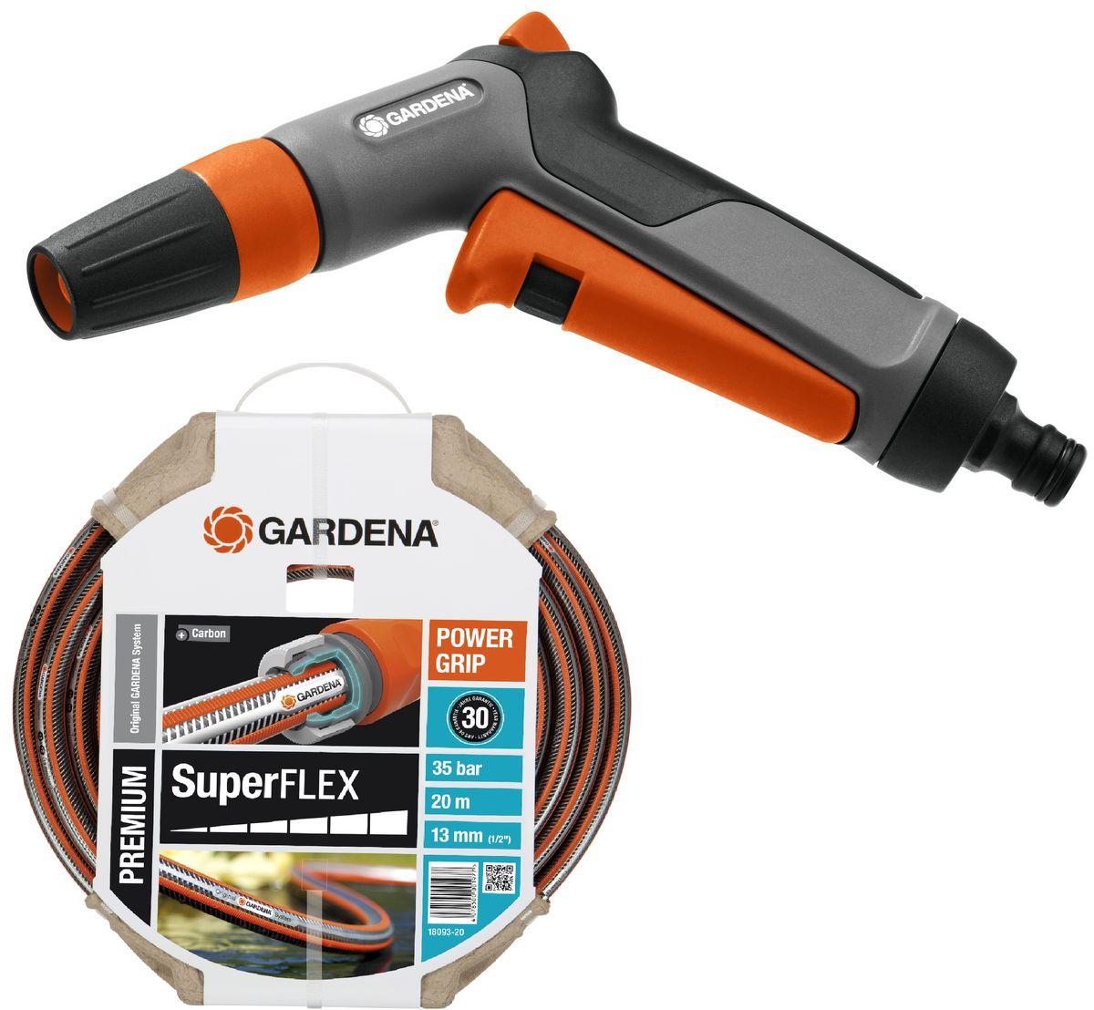 """Шланг Gardena """"Superflex"""", диаметр 13 мм (1/2""""), длина 20 м + Пистолет-наконечник для полива Gardena """"Classic"""". 07800-20.000.00"""