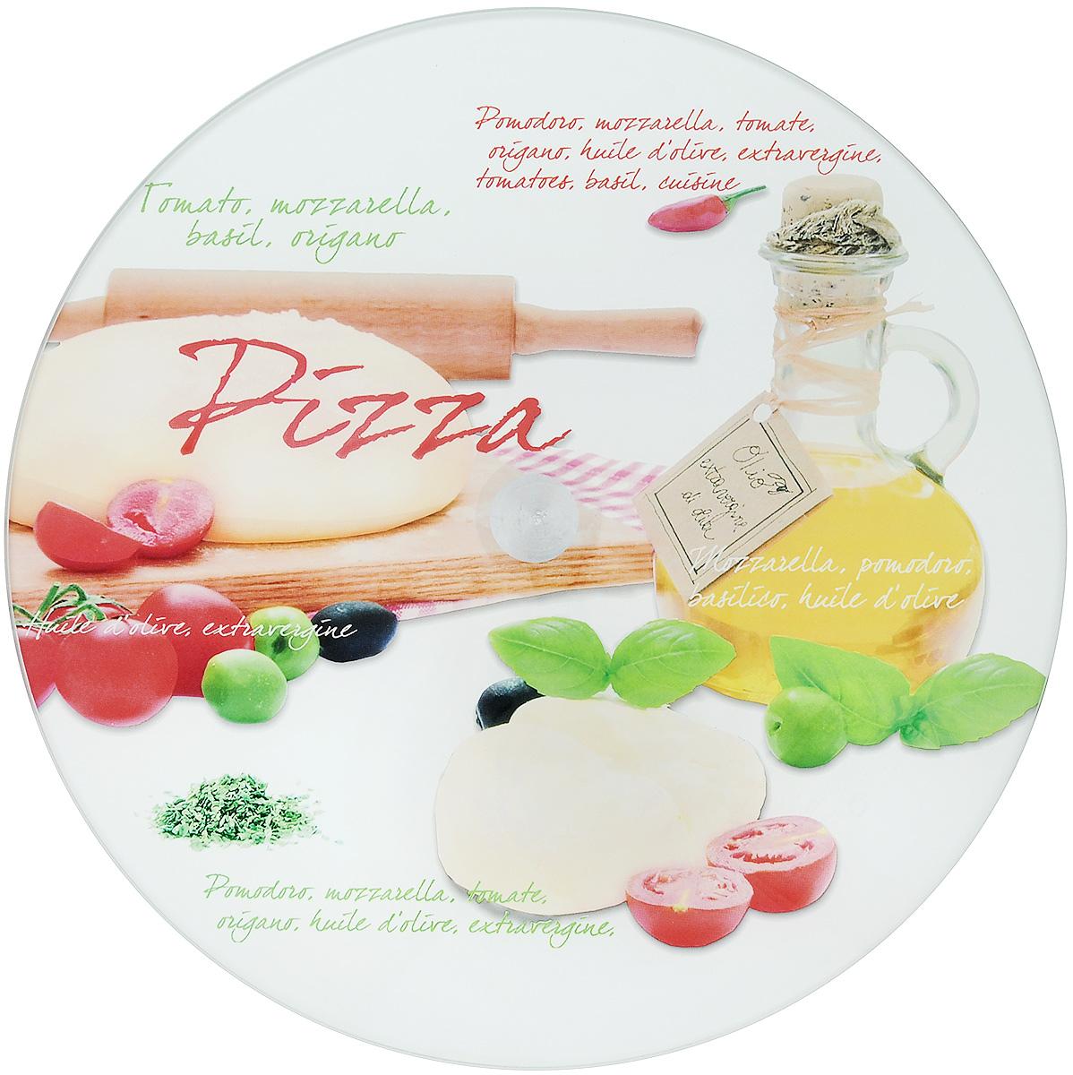 Блюдо для пиццы Арт-Дон, вращающееся, диаметр 30 смАР-ВБП01ПКруглое блюдо для торта Арт-Дон изготовлено из стекла и оформлено яркими рисунками и надписями. Блюдо прекрасно подходит для подачи пицц, тортов, пирогов и пирожных. Изделие оснащено ножкой с вращающим механизмом.Изысканное оригинальное блюдо прекрасно подойдет для сервировки стола и удивит ваших гостей необычной формой и дизайном.Диаметр блюда: 30 см.Высота блюда: 2 см.