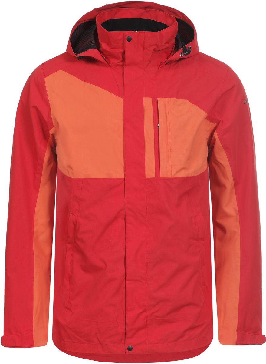 Куртка мужская Icepeak, цвет: красный, оранжевый. 756235577IVT_645. Размер L (52)756235577IVT_645Мужская куртка с подкладкой Icepeak выполнена из качественного полиэстера. Модель с длинными рукавами застегивается на застежку-молнию и планку с кнопками. Изделие дополнено капюшоном и двумя внешними карманами.