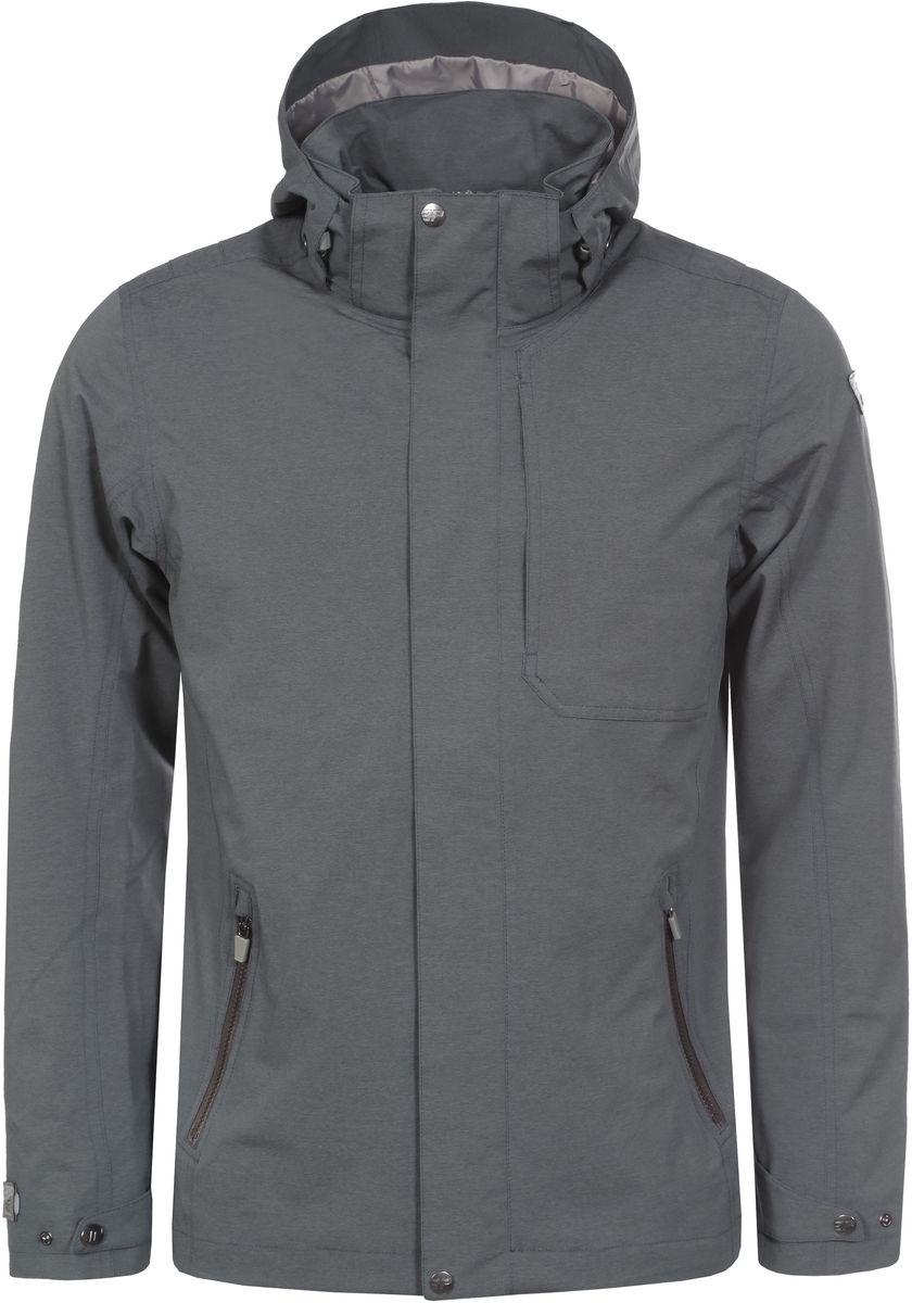 Куртка мужская Icepeak, цвет: серый. 756008507IV_575. Размер 46756008507IV_575Мужская куртка от Icepeak выполнена из легкой ветрозащитной ткани. Модель с длинными рукавами застегивается на молнию и ветрозащитный клапан, имеются два боковых кармана на молнии, отстегивающийся капюшон.