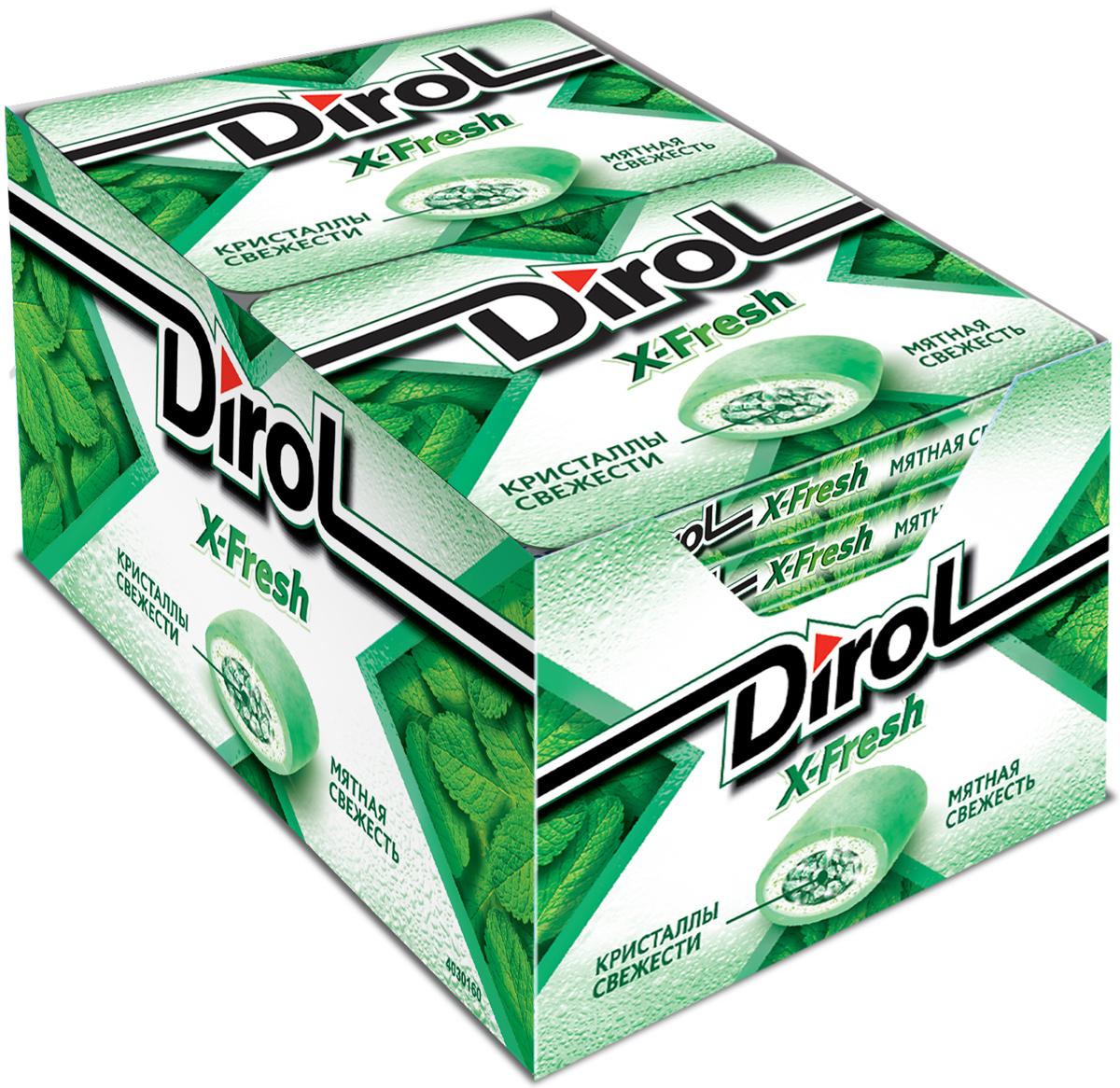 Dirol X-Fresh Жевательная резинка Мятная Свежесть без сахара, 12 пачек по 16 г dirol жевательная резинка арбузно дынный коктейль 5 шт по 13 6 г