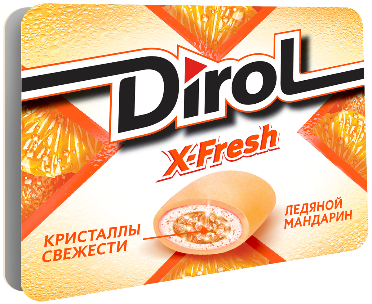 Dirol X-Fresh Ледяной мандарин жевательная резинка без сахара, 16 г жевательная резинка dirol сладкая мята без сахара