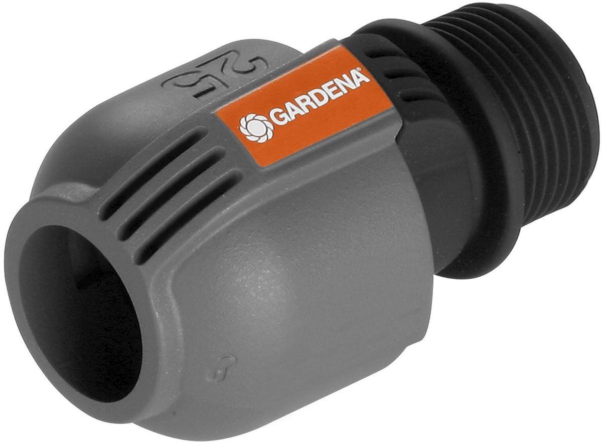 Соединитель Gardena, наружная резьба 25 мм x 102763-20.000.00Соединитель Gardena - составная часть дождевательной системы Gardena, которая служит для подсоединения подающей линии к клапанам для полива Gardena. С помощью этого соединителя система полива также может быть напрямую подключена к домашнему водопроводу. Благодаря запатентованной технологии быстрого соединения Quick & Easy (Быстро и просто) монтаж и демонтаж трубопровода осуществляется без инструментов путем простого поворота завинчивающегося фитинга на 140°. Для безопасной работы и достижения водонепроницаемости резьбовое соединение соединителя является самогерметизирующимся.