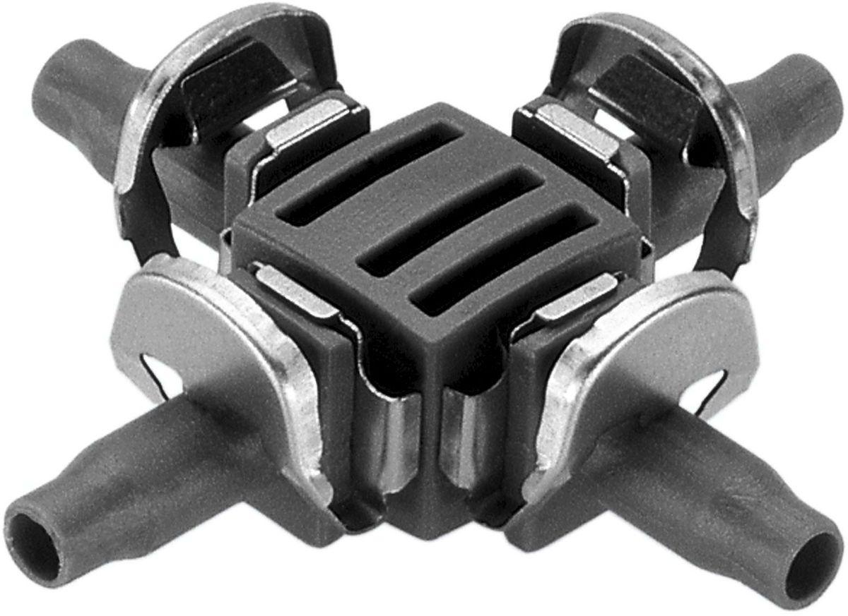 Крестовина Gardena, резьба 4,6 мм (3/16), 10 шт08334-29.000.00Крестовина Gardena является элементом системы микрокапельного полива Gardena Micro-Drip-System и предназначена для разделения подающего шланга на несколько линий. Благодаря патентованной технологии быстрого подсоединения Quick & Easy, установка крестовины чрезвычайно проста. В комплект поставки входят десять крестовин.