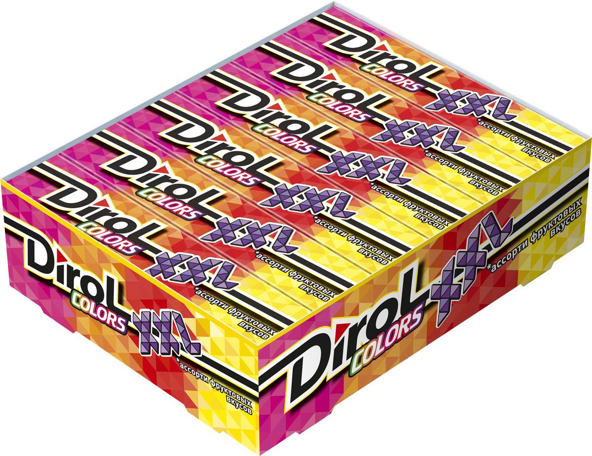 Dirol Colors XXL ассорти фруктовых вкусов жевательная резинка без сахара, 18 пачек по 19 г orbit xxl white сочное яблоко жевательная резинка без сахара 20 пачек по 20 4 г